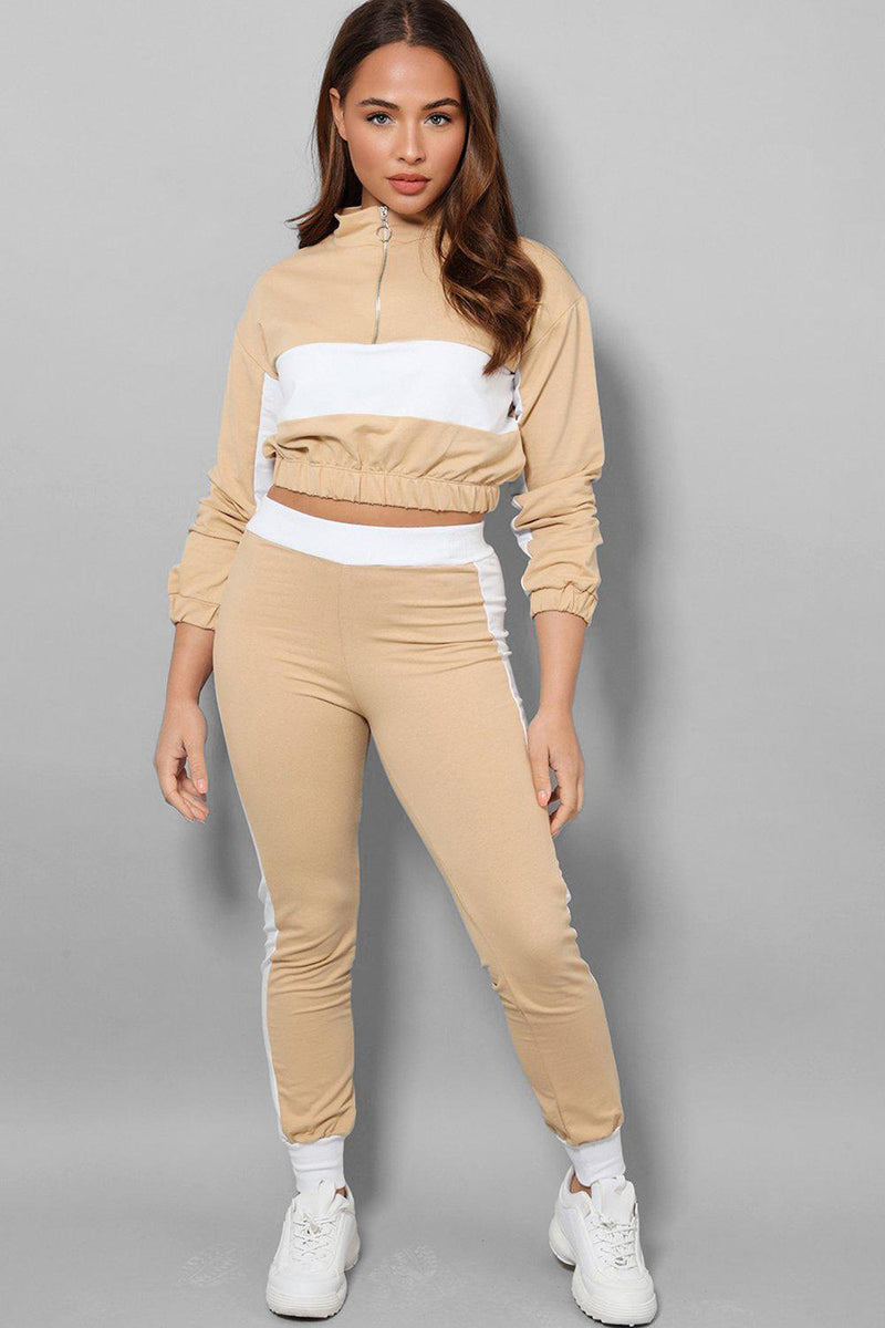 White Racer Stripe Beige Two Piece Tracksuit - SinglePrice