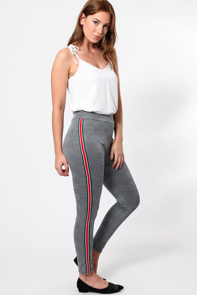 Green Red White Stripes Checked Leggings-SinglePrice