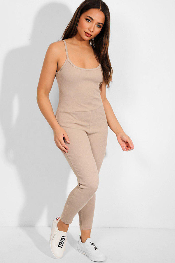 Beige Ribbed Open Back Catsuit - SinglePrice