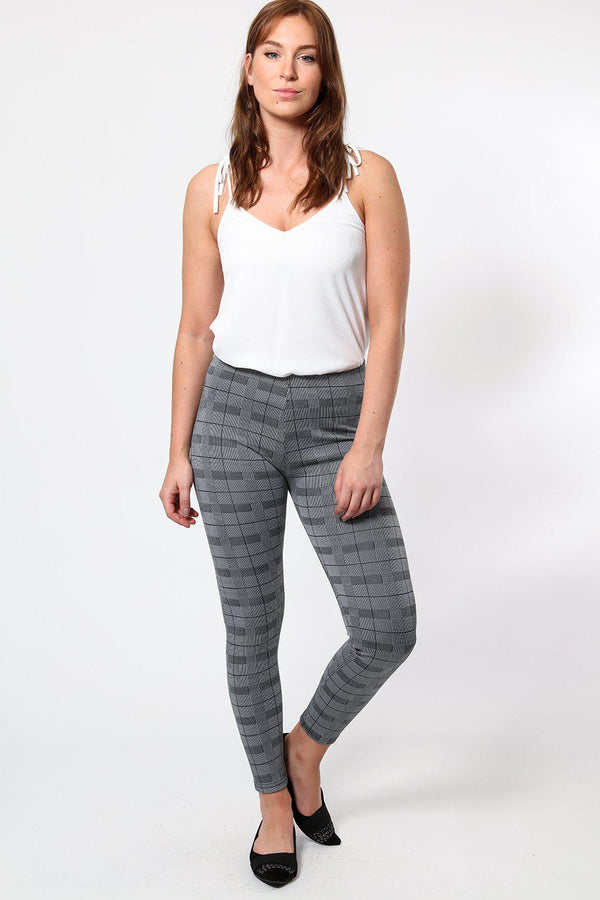 Grey Checked Leggings-SinglePrice