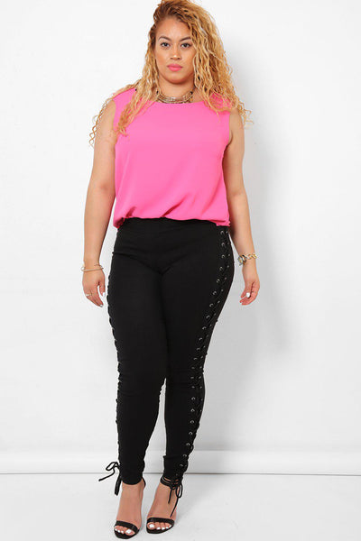 Laced Up Black Treggings-SinglePrice