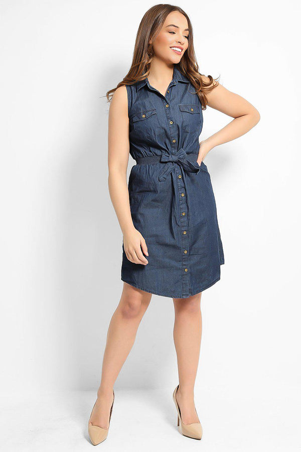 Blue 100% Cotton Waist-Belt Sleeveless Denim Dress - SinglePrice