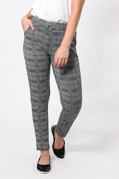 Checked Grey Buckle Trousers-SinglePrice