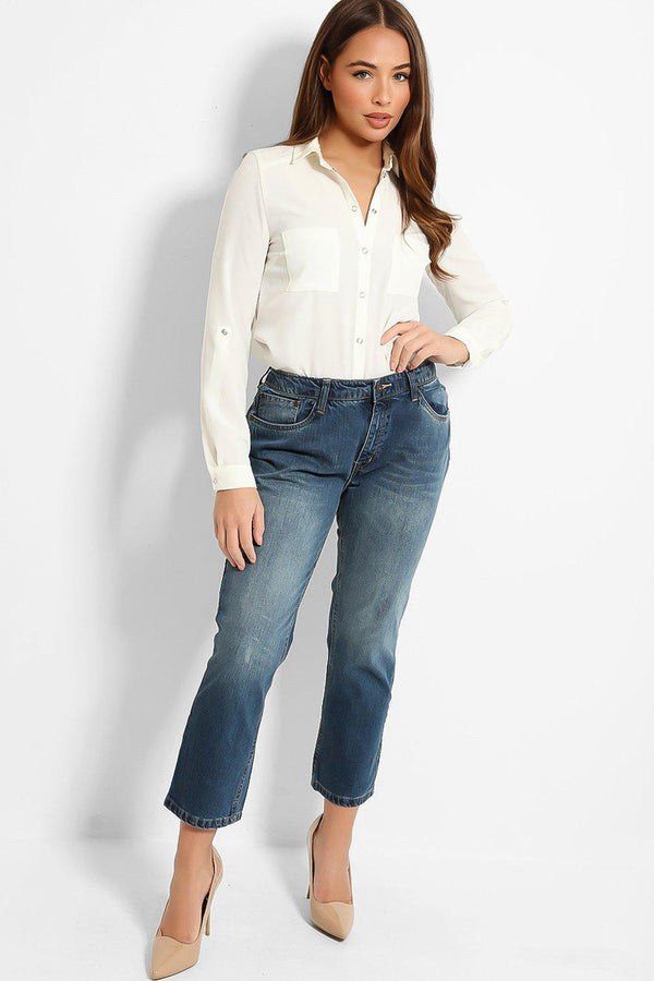 Denim Blue Cropped Pipe Leg Jeans - SinglePrice