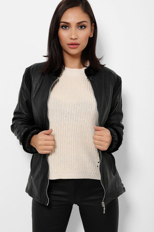 Faux Fur Trims Vegan Leather Black Jacket - SinglePrice
