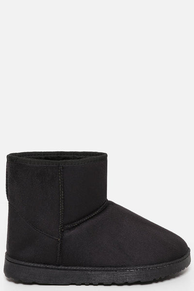 Black Faux Fur Lined Short Warm Boots-SinglePrice