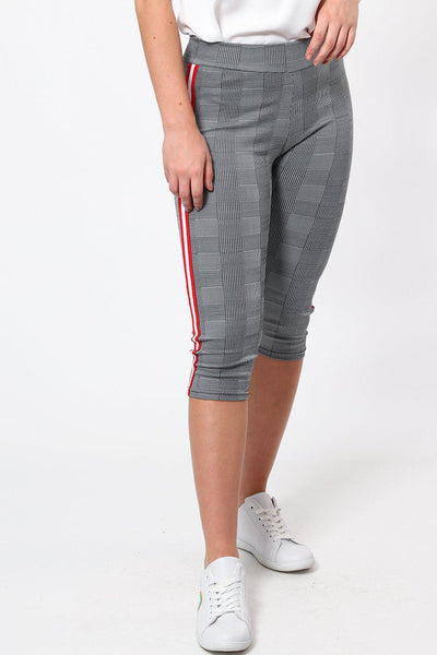 Red White Stripe Checked Capri Leggings-SinglePrice