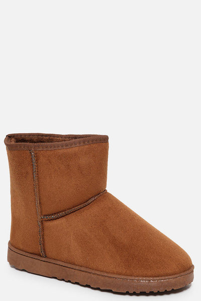Camel Faux Fur Lined Short Warm Boots-SinglePrice