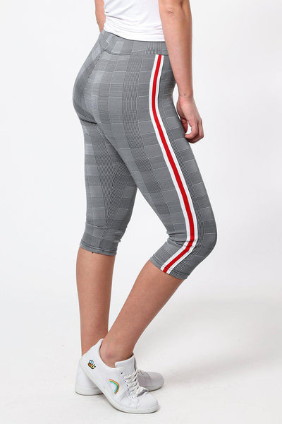 White Red Stripe Checked Capri Leggings-SinglePrice