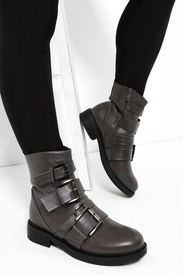 Four Buckles Low Heel Grey Biker Boots - SinglePrice