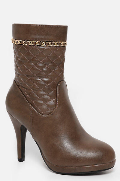 Chain Trim Quilted Taupe Heeled Ankle Bots-SinglePrice