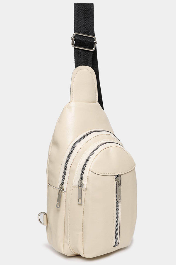 Cream Multi-Pocket One Shoulder Backpack-SinglePrice