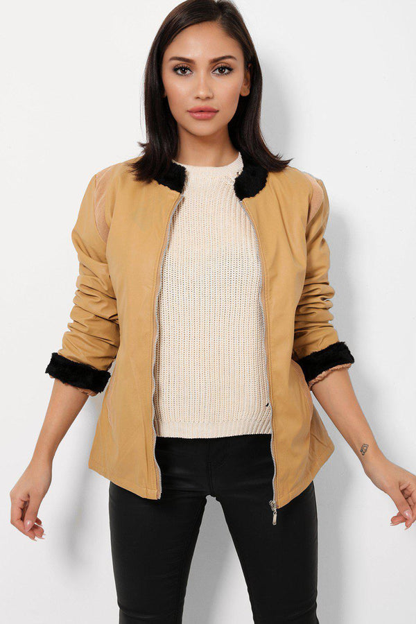 Faux Fur Trims Vegan Leather Camel Jacket - SinglePrice