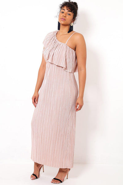 Pink One Shoulder Pleated Maxi Dress-SinglePrice