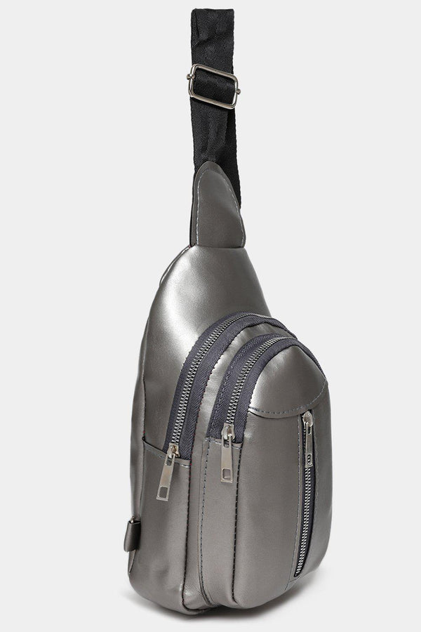 Silver Multi-Pocket One Shoulder Backpack-SinglePrice
