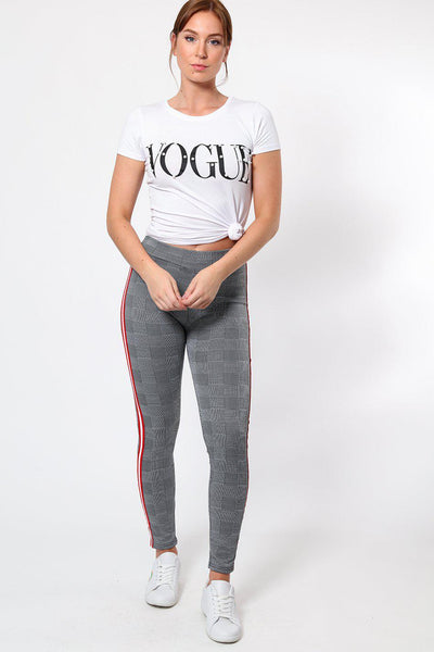 Red And White Stripe Grey Checked Leggings-SinglePrice