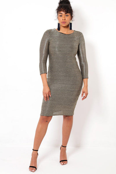 Gold Chain Mesh Bodycon Dress-SinglePrice