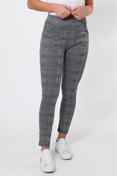 Side Buckle Checked Grey Leggings-SinglePrice