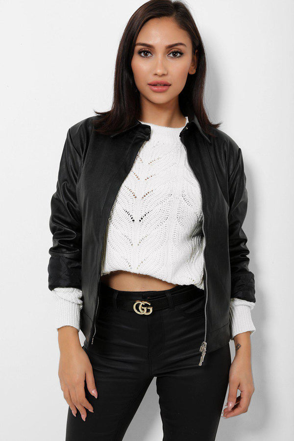 Black Vegan Leather Jacket-SinglePrice