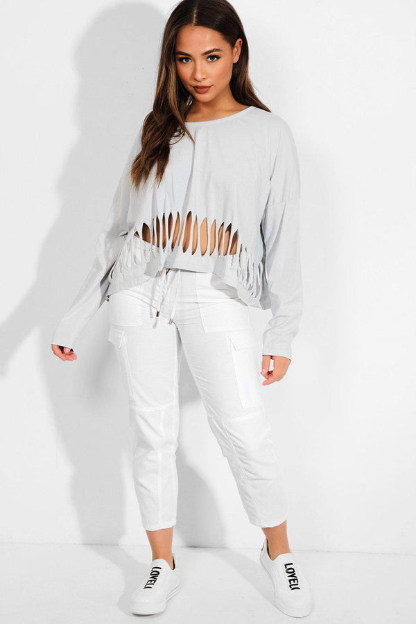 White 100% Cotton Cropped Trousers - SinglePrice