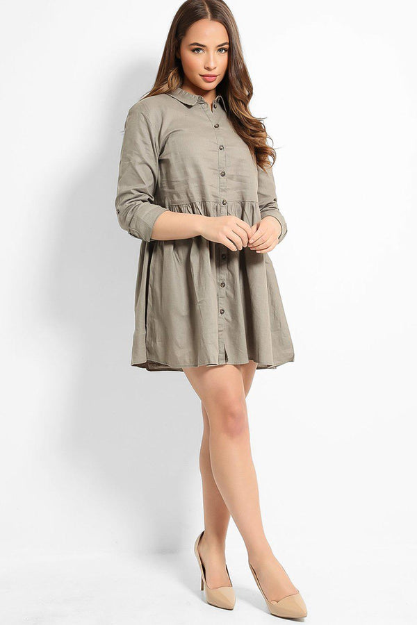 Bleached Khaki Linen Cotton Blend Baby Doll Shirt Dress