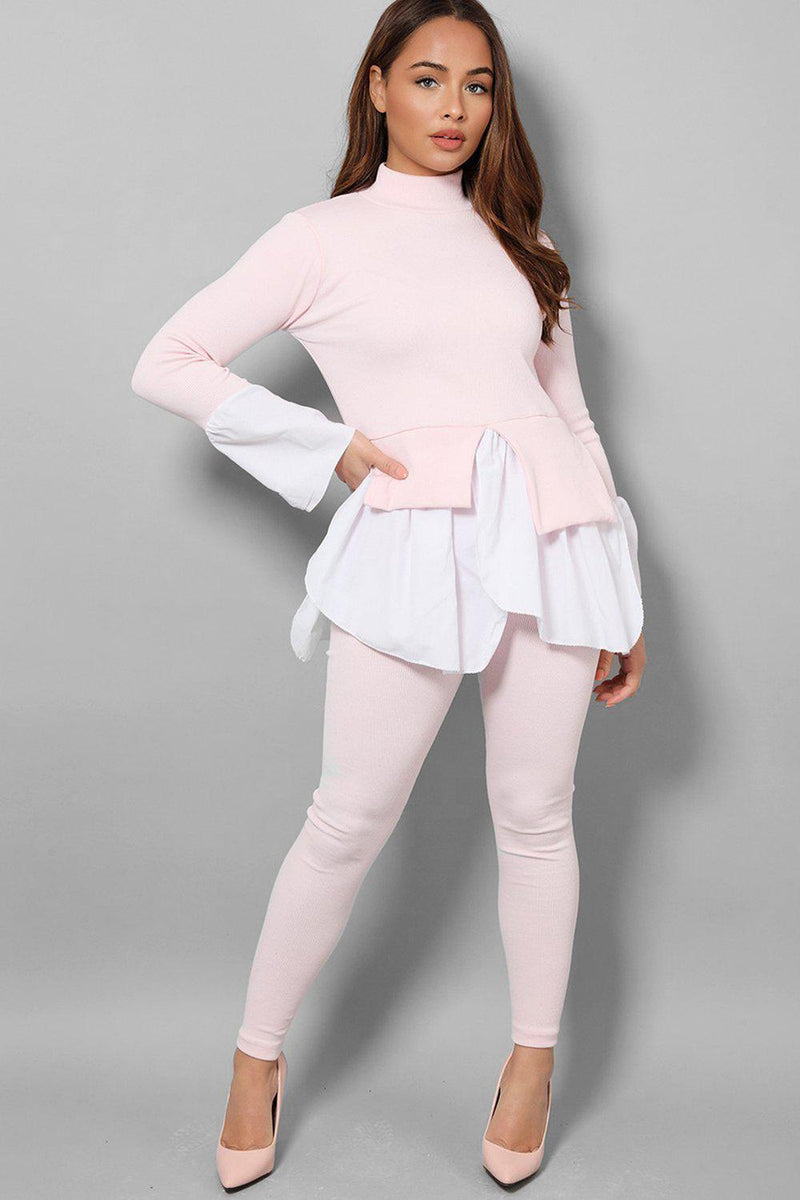 Pink Ribbed Shirt Hem Pullover Casual Set - SinglePrice