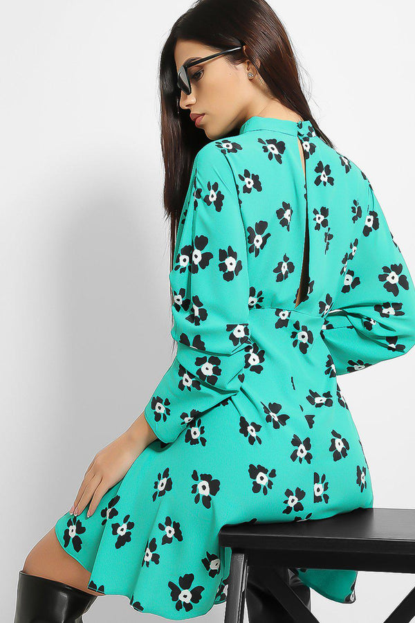 Green Floral Print High Neck dress - SinglePrice