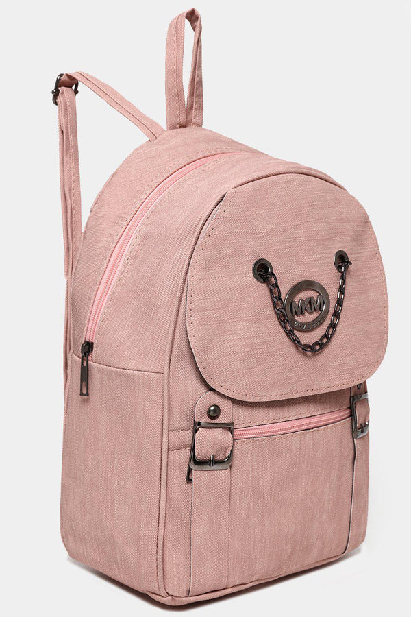 Pink Chain Flap Detail Textured Large Backpack-SinglePrice