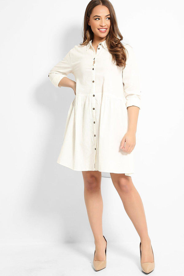 White Linen Cotton Blend Baby Doll Shirt Dress