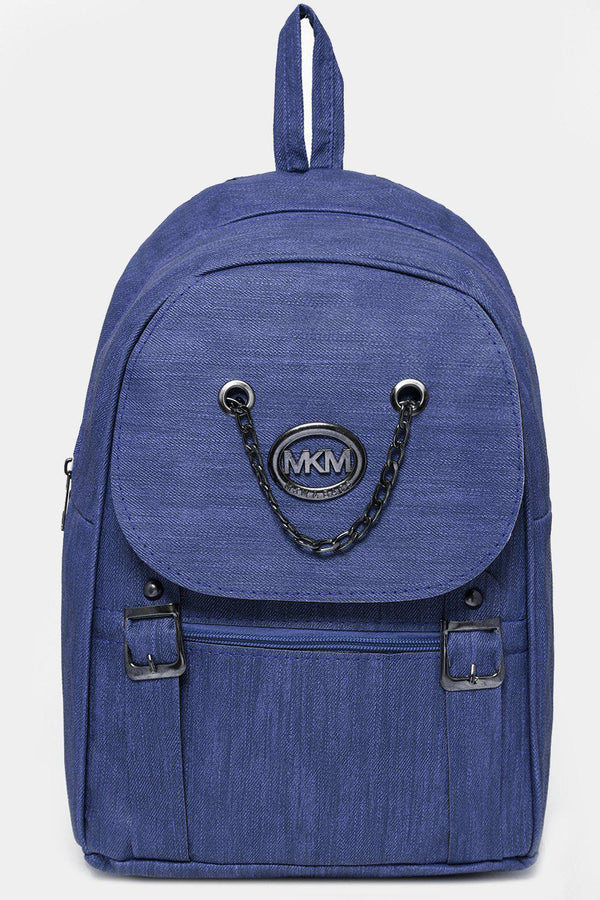 Blue Chain Flap Detail Textured Large Backpack-SinglePrice
