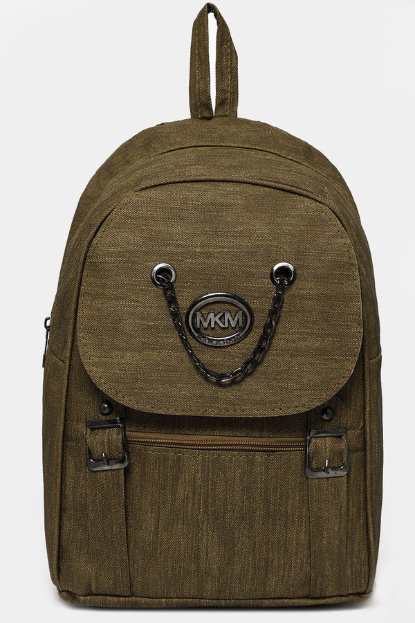 Khaki Chain Flap Detail Textured Large Backpack-SinglePrice