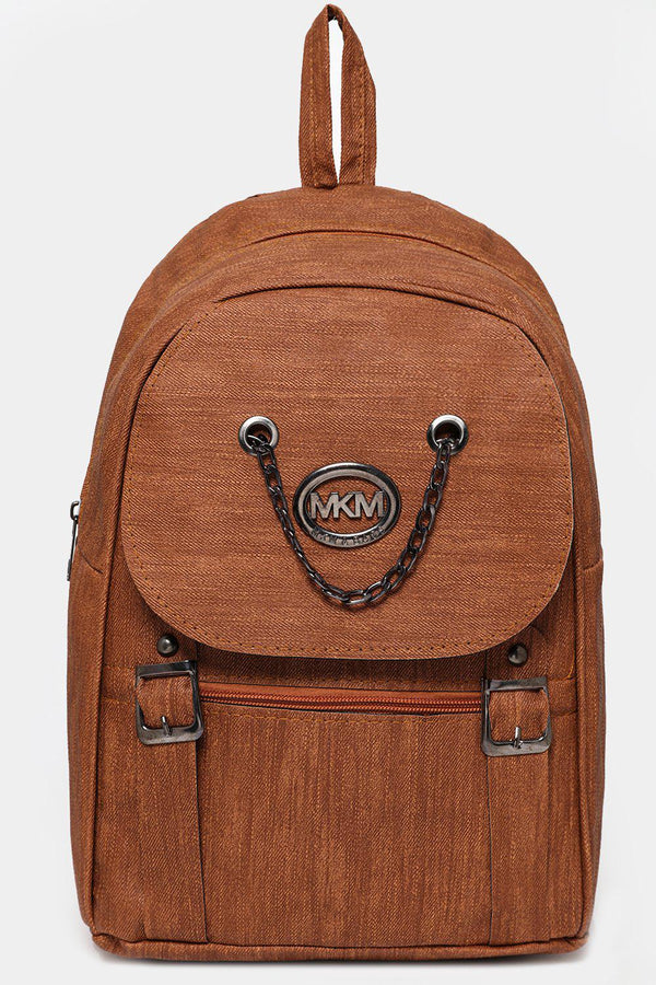 Brown Chain Flap Detail Textured Large Backpack-SinglePrice