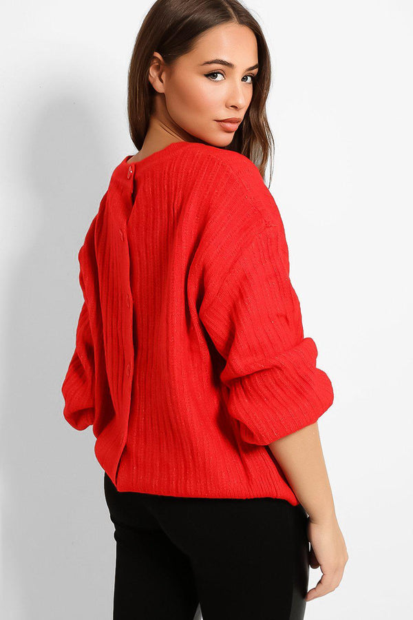 Red Buttons Back Balloon Sleeves Rib Knit Pullover - SinglePrice