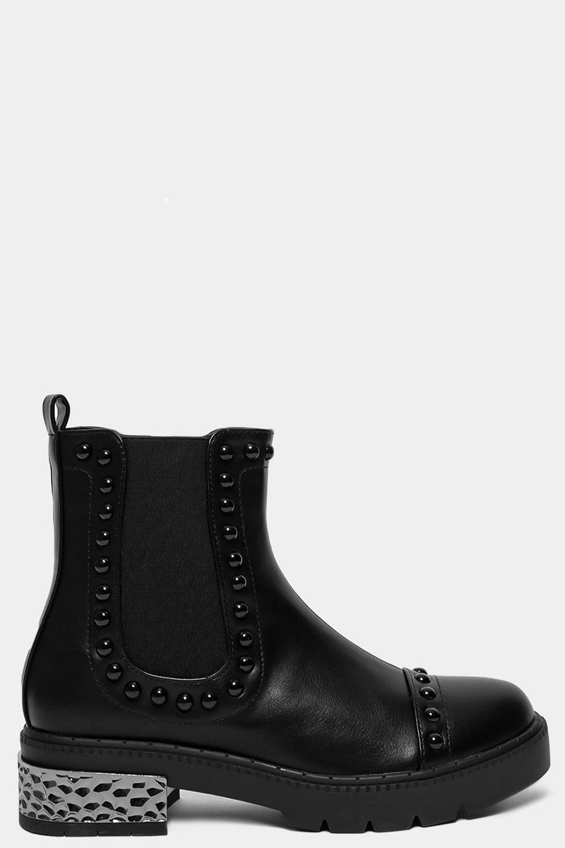 Black Vegan Leather Beaded Details Tall Chelsea Boots - SinglePrice