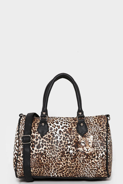 Small Leopard Print Bowler Bag