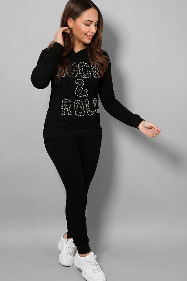 Black Beaded Slogan Front Hooded 2 Piece Tracksuit - SinglePrice