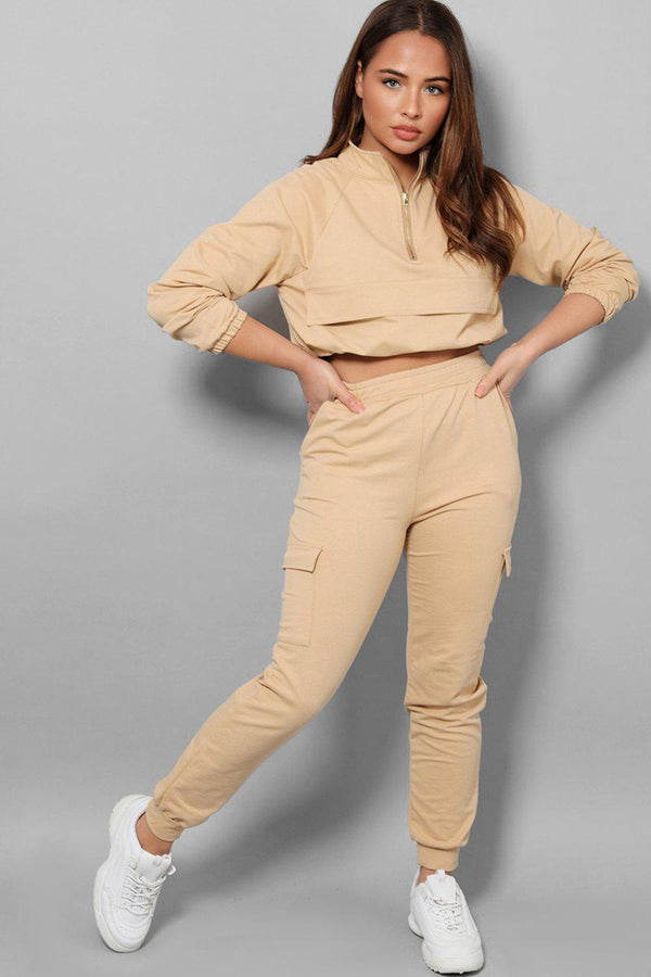 Beige Drawstring Top Cargo Two Piece Tracksuit-SinglePrice