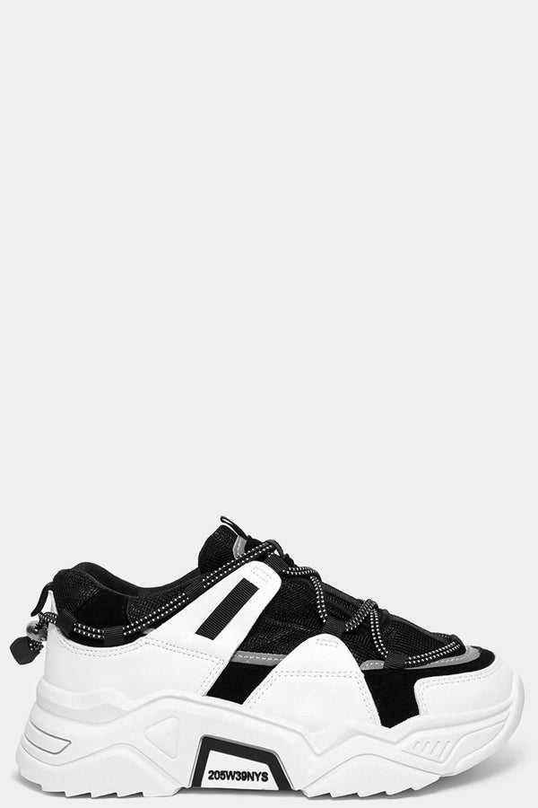 White Black Drawstring Lace Up Chunky Trainers-SinglePrice