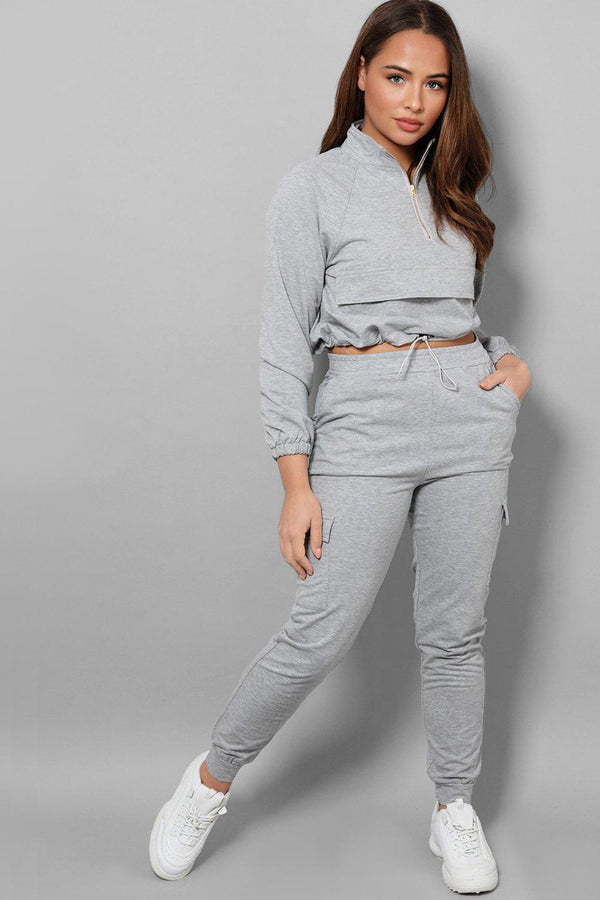 Grey Drawstring Top Cargo Two Piece Tracksuit - SinglePrice