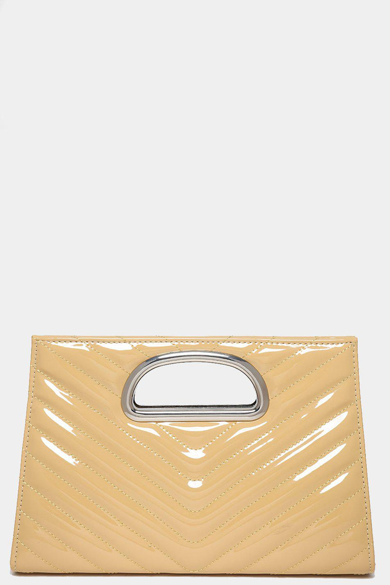 Nude Patent Chevron Quilt Clutch - SinglePrice