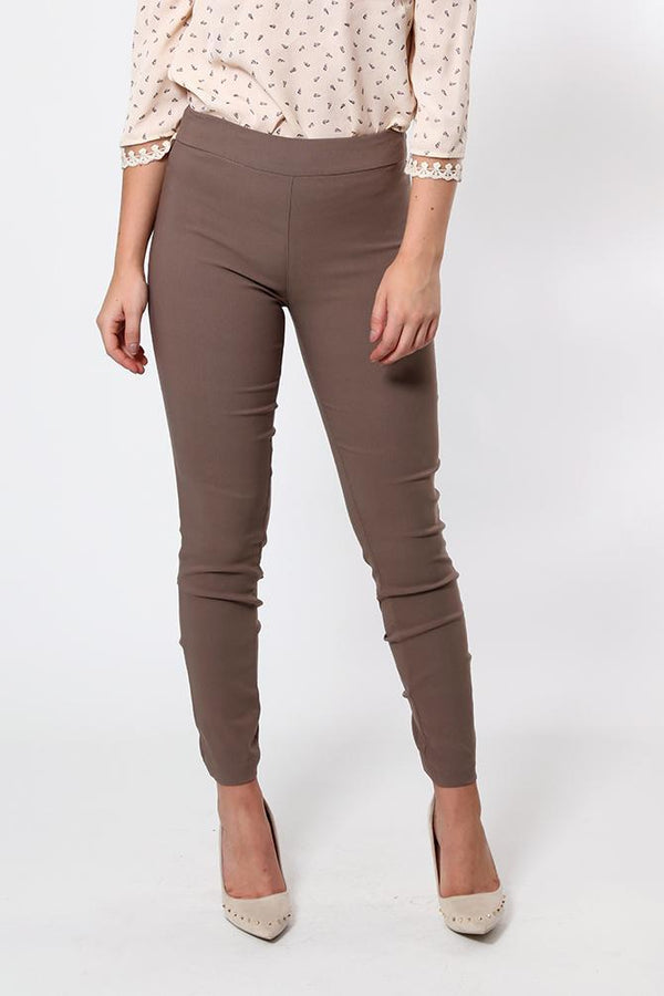Ankle Zip Brown Stretchy Trousers-SinglePrice
