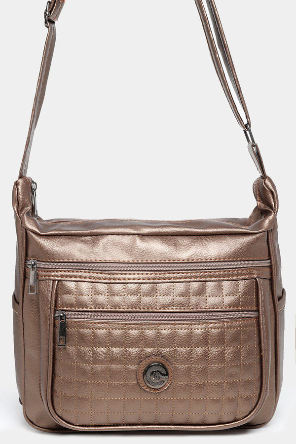 Bronze Large Quilted Front Messenger Bag-SinglePrice