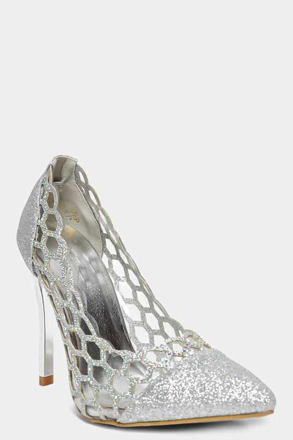 Silver Encrusted Honeycomb Panels Stiletto Heels - SinglePrice