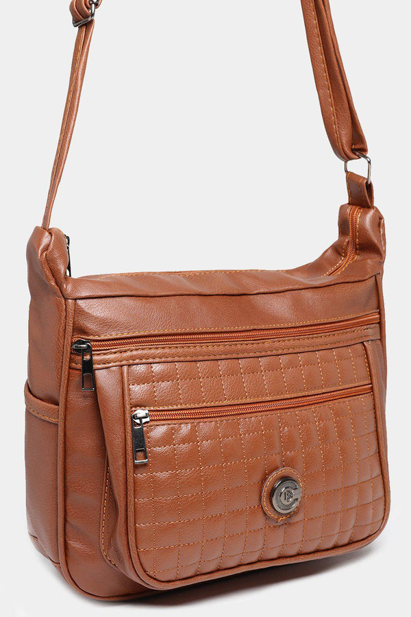 Brown Large Quilted Front Messenger Bag-SinglePrice