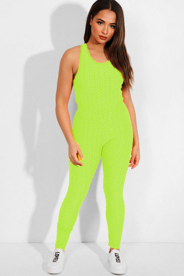 Neon Yellow Ruched Tank Top And Leggings 2 Piece Tracksuit - SinglePrice