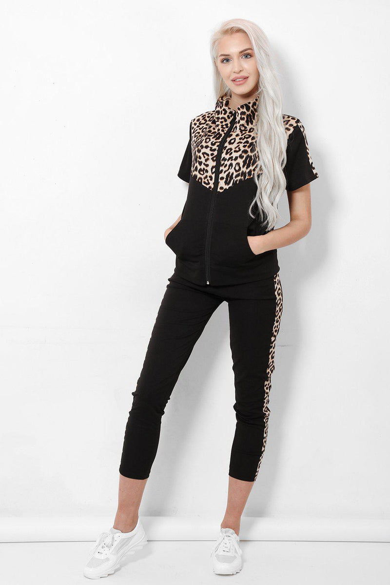 Brown Leopard Front High Neck 2 Piece Short Sleeve Tracksuit - SinglePrice