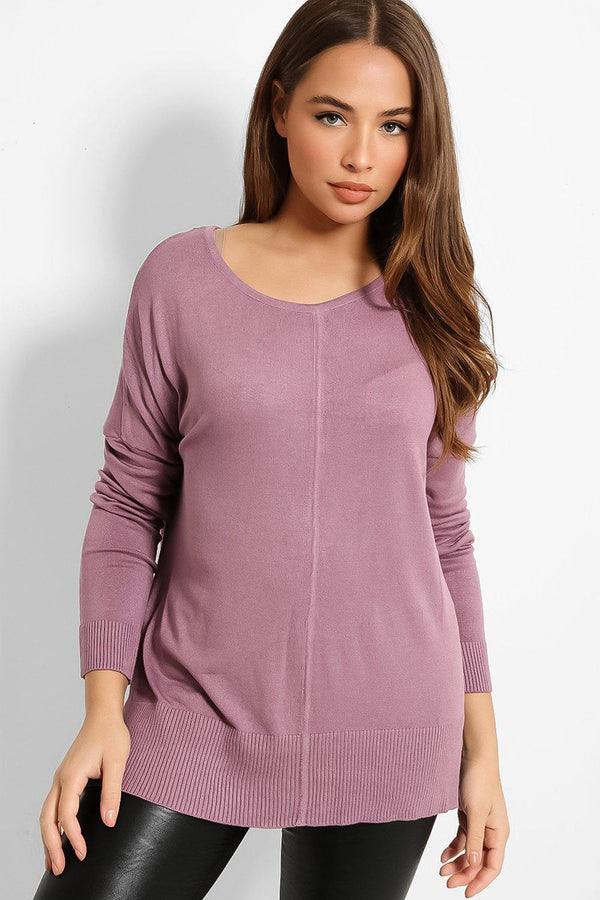 Purple Lazy Fit Front Seam Flat Knit Pullover - SinglePrice
