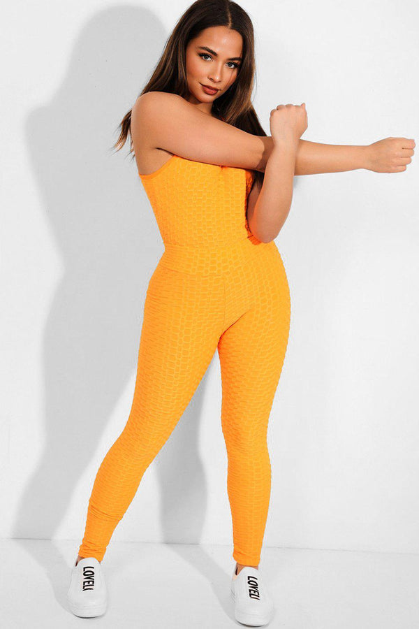 Neon Orange Ruched Tank Top And Leggings 2 Piece Tracksuit - SinglePrice