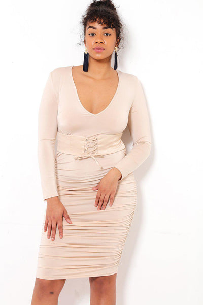 Corset Belt Nude Midi Dress-SinglePrice