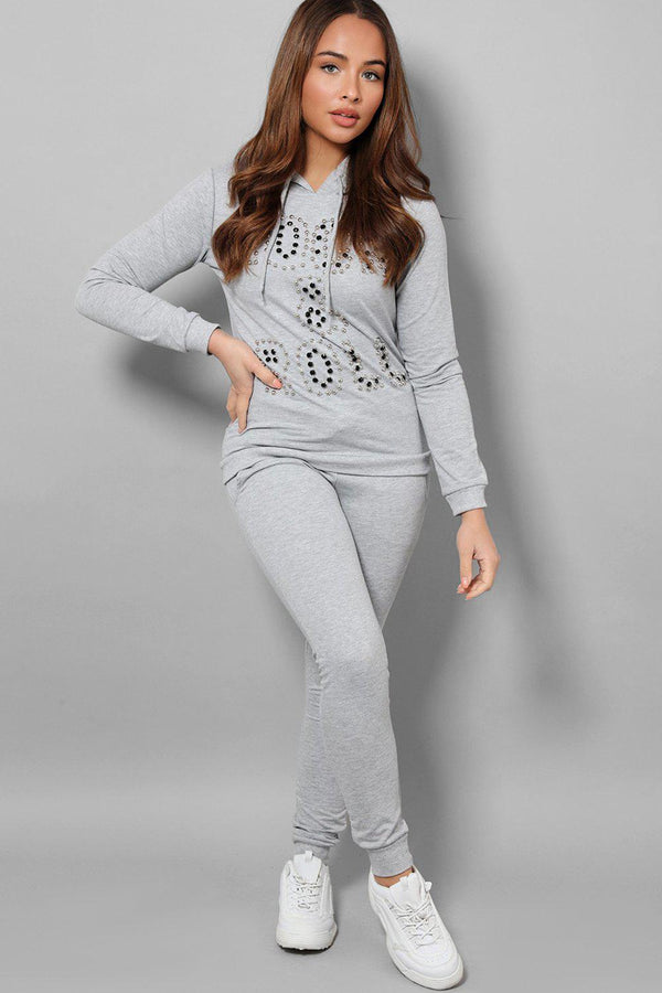 Grey Beaded Slogan Front Hooded 2 Piece Tracksuit-SinglePrice